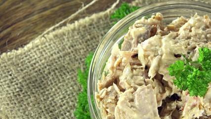 Portion of Tuna Salad (not seamless loopable 4K UHD footage)
