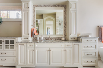 Elegant Master Bathroom Vanity and Cabinets