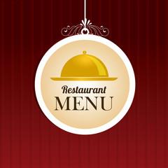 Restaurant design over red background vector illustration
