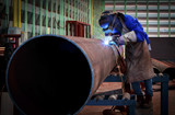 Pipe welding on the pipeline construction