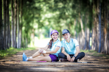 Portrait of a couple in golf clothes