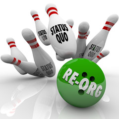 Re-Org Words Bowling Ball Striking Status Quo Organization Pins