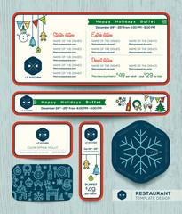 Christmas party restaurant menu set template