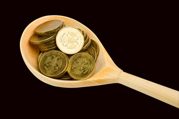 Spoon with coins on a black background