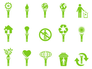 green eco icons stick figures series