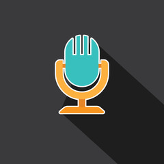 Vector of Microphone with long shadow style