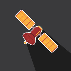 Vector of satellite in long shadow style