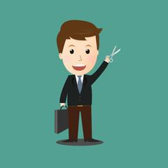 Vector of businessman concept.scissors