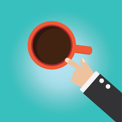 Vector of businessman hand point to his coffee