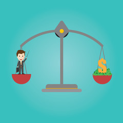 Vector of Scales balance . businessman get money