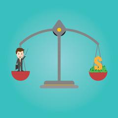 Vector of Scales balance . businessman get money