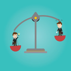 Vector of Scales balance . businessman good idea and bad idea