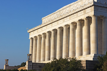 Lincoln Memorial in the morning against a clear blue sky.