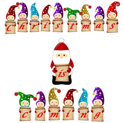 christmas is coming santa clause and gnomes