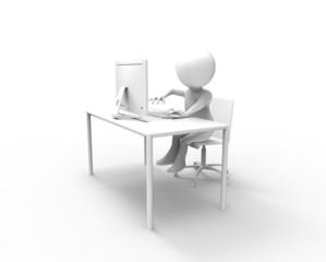 パソコンと机と人