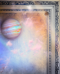 Background with ancient frame and planet