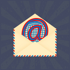 Open envelope email and At sign as a globe on a blue background