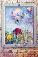 Spring garden in frame