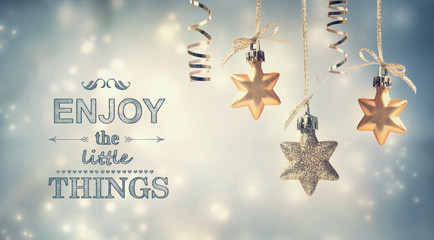 Enjoy the Little Things text with star ornaments