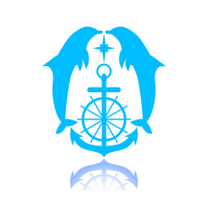 Two dolphins with anchor and star