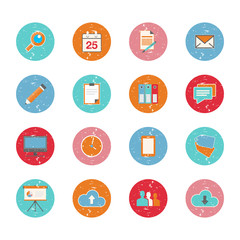 Set of web circle grungy icons in flat design