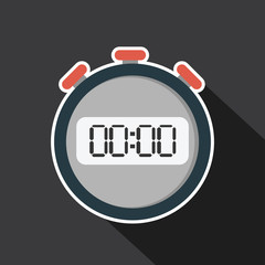Vector of stopwatch with long shadow