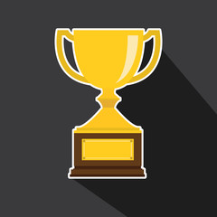 Vector of trophy with long shadow