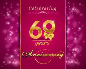 69 year celebration sparkling card, 69th anniversary