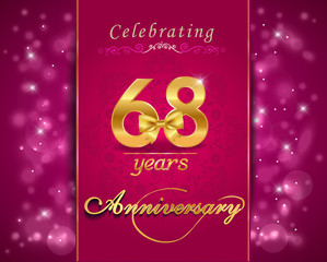 68 year celebration sparkling card, 68th anniversary