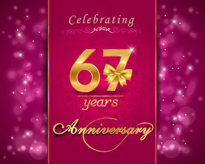 67 year celebration sparkling card, 67th anniversary