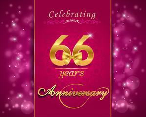 66 year celebration sparkling card, 66th anniversary