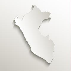 Peru map card paper 3D natural vector