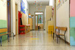 corridor of a nursery school during the holidays without childre - 74061084