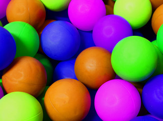 colored spheres with fluorescent colours