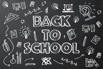 Back to school chalkboard sketch Vector illustration