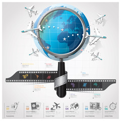 Global Travel And Journey Infographic With Magnifying Glass Film