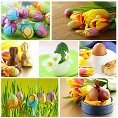 collage Easter symbols - colored eggs, flowers and decorations