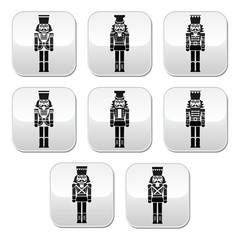 Christmas nutcracker - soldier figurine grey buttons set