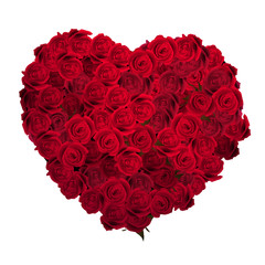 Valentines Day Heart Made of Red Roses. EPS 10