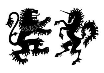 Heraldic Lion and Unicorn Vector