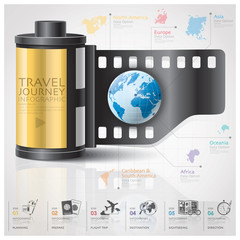 Global Travel And Journey Infographic With Continent Film Diagra