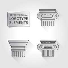 linear icons Columns. Flat with long shadows. logo.