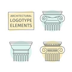 line flat icons Columns. elements logo.