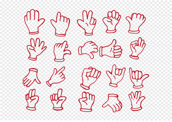 Cartoon hand gloved , illustration of various hands