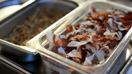 Cooking ingredients in container - bacon etc.