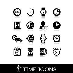 Time icons - Set black 16