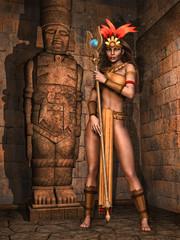 Baśniowa kapłanka obok posągu w starożytnej świątyni Majów
