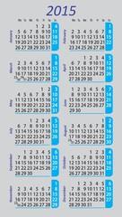 Pocket calendar 2015 on gray background