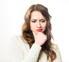 serious pensive woman portrait