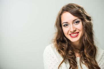 smiling brunet woman closeup portrait